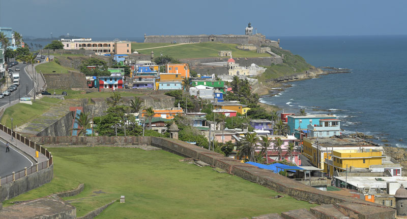 View of village on the coast