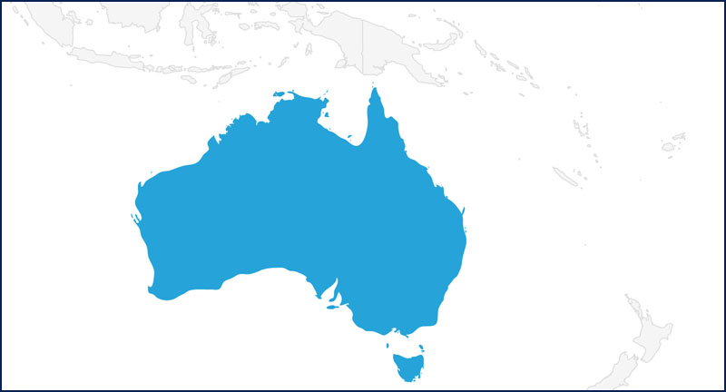 A map highlighting Australia in blue