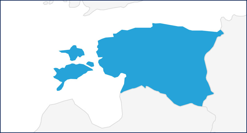 A map highlighting Estonia in blue