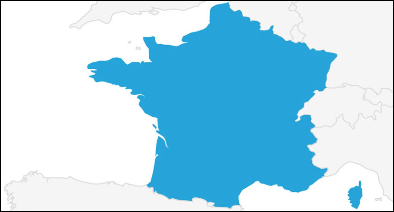 A map highlighting France in blue