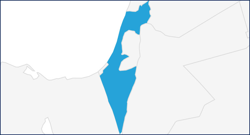A map highlighting Israel in blue