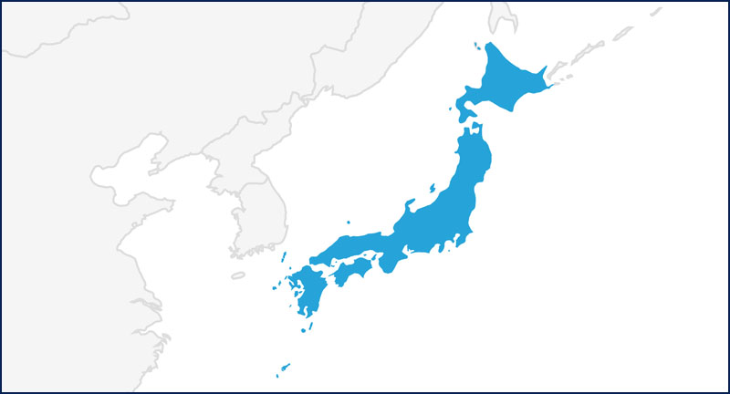 A map highlighting Japan in blue