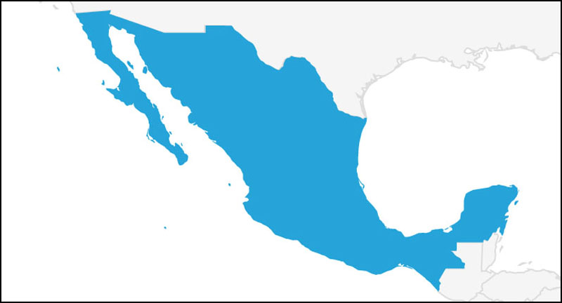 A map highlighting Mexico in blue