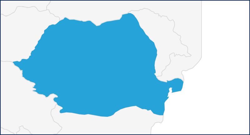 A map highlighting Romania in blue
