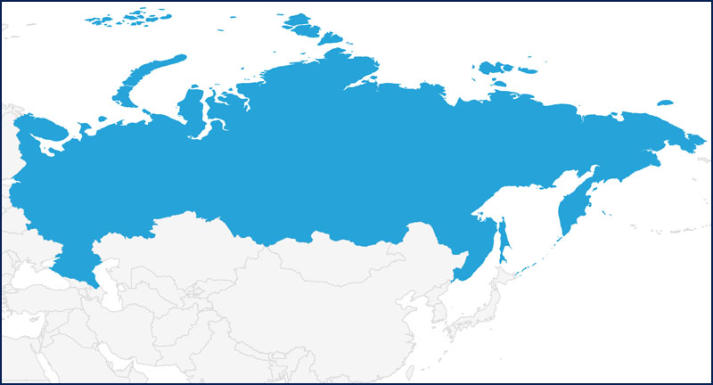 A map highlighting Russia in blue