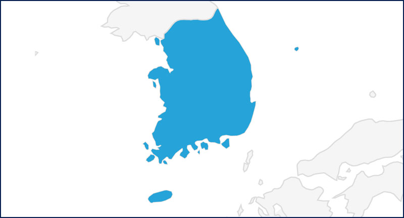 A map highlighting South Korea in blue.