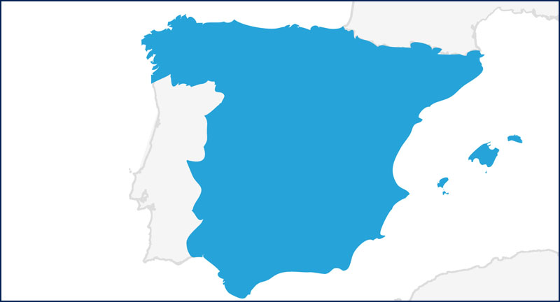 A map highlighting Spain in blue