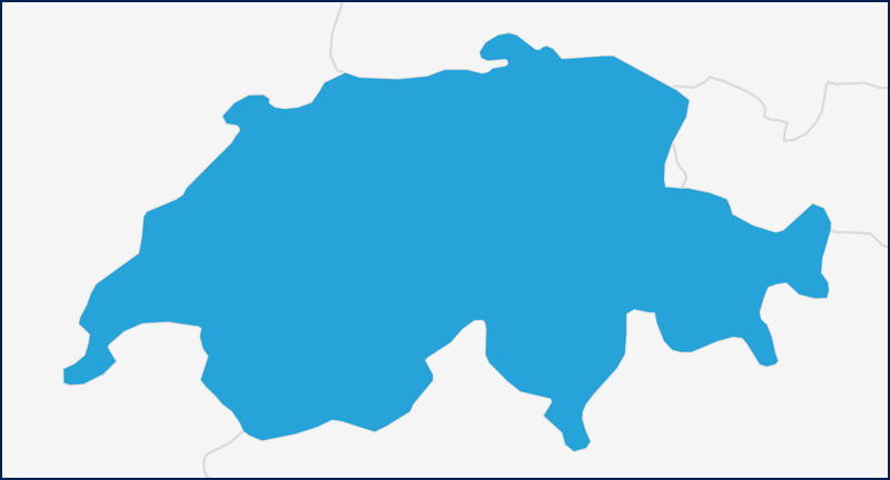 A map highlighting Switzerland in blue.