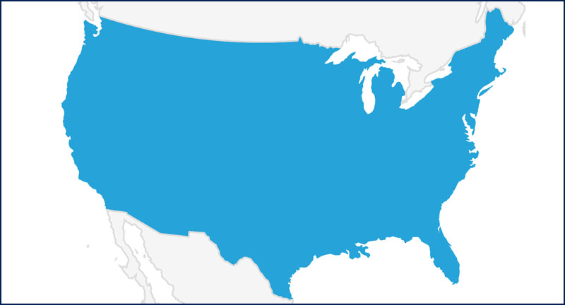 A map highlighting the USA in blue